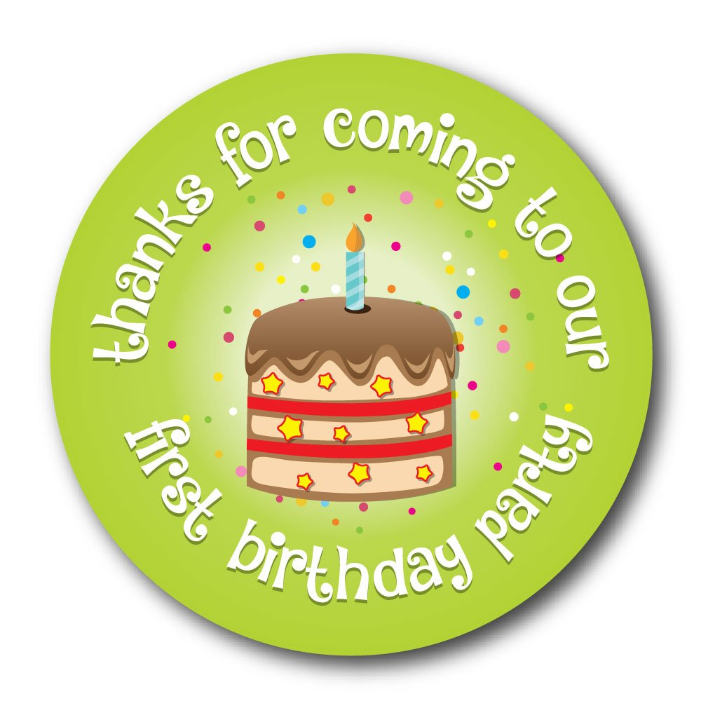 'Thanks For Coming To OUR First Birthday Party' 30mm stickers, 'Cake' various colours and quantities (48 Blue stickers) StickerZone