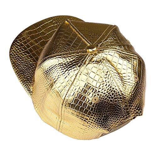 de sombrero piel de relieve Gorra plano del ala de Hombre cuero África Snapback la del de de Mapa MCSAYS Oro de PU del serpiente cocodrilo del béisbol la de en patrón O1xa54q