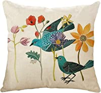 Cojín Tiro Cubierta Birds Flowers Square