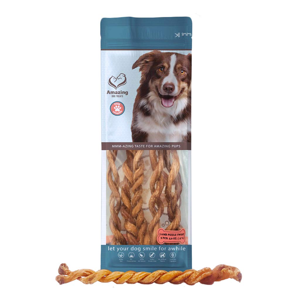 Lamb Bully Sticks and Twists - Premium Dog Chew - All Natural Fresh and Savory Lamb Flavor- Long Lasting Dog Chews (Lamb Bully Twists - 5 Pack (5.6 oz))
