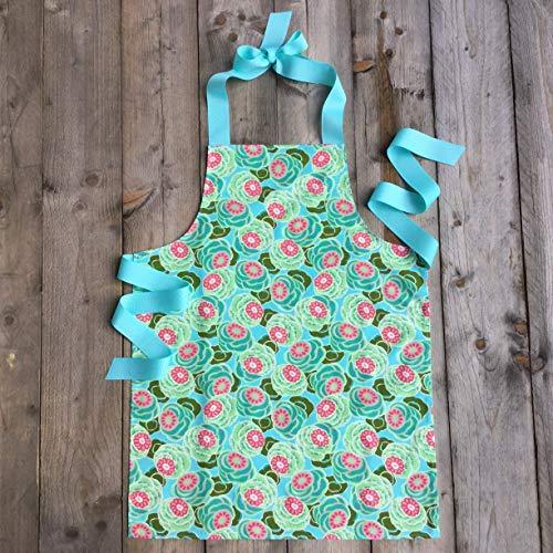 Handmade Aqua and Pink Kitchen Art Craft Gift Apron for Girls from Sara Sews