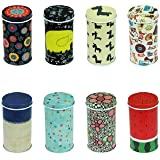 Graces Dawn® Set of 8 Home Kitchen Storage Containers Colorful Tins Round Tea Tins