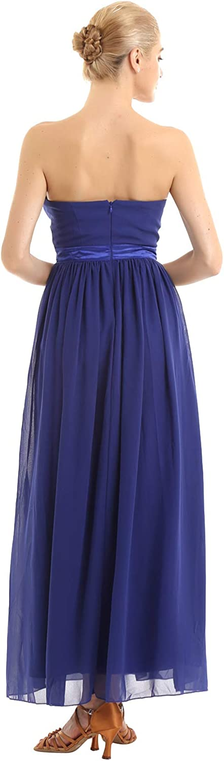 Yeahdor Womens Strapless Ruched Bust Chiffon Long Bridesmaid Evening Party Dress Prom Gown