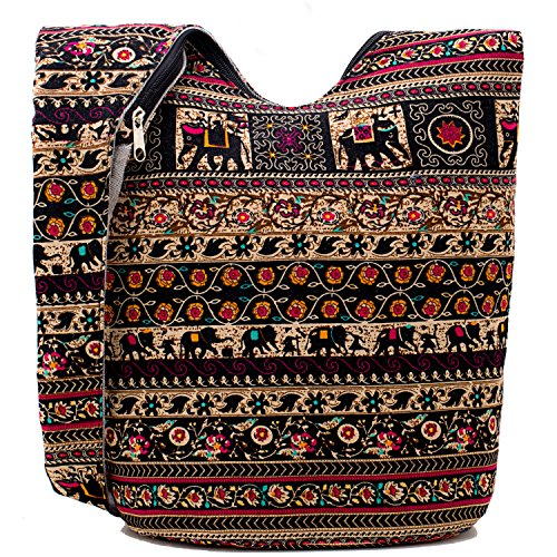 Hippie Crossbody Bag Thai Top Zip Hobo Sling Bag Handmade Hipster Messenger Bag (Elephant) by Chrysansmile (Image #2)