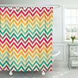Hot Pink and Brown Shower Curtain VaryHome Shower Curtain Pink Fun Colorful Geometrical Pattern Orange Bright Color Waterproof Polyester Fabric 78 x 72 Inches Set with Hooks
