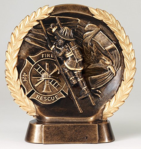 Etch Workz Customize Bronze Finished Resin Casting American Tribute Award - Gold Plated RFH535 Series Fireman Hero Sculpture Trophy - Engraved & Personalized -