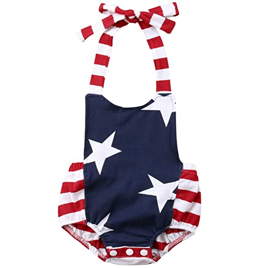 ab8a884f5e4f Aunavey 4th of July Baby Girl Outfit Newborn Striped Star Summer Jumpsuit  Bodysuit Baby Romper (