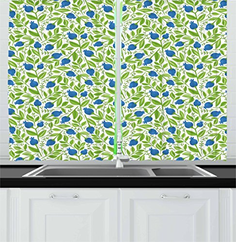 Fruits Kitchen Curtains By Ambesonne, Flowering Blueberry Blossoms Vivid  Leaf Branches Nature Plants Design,