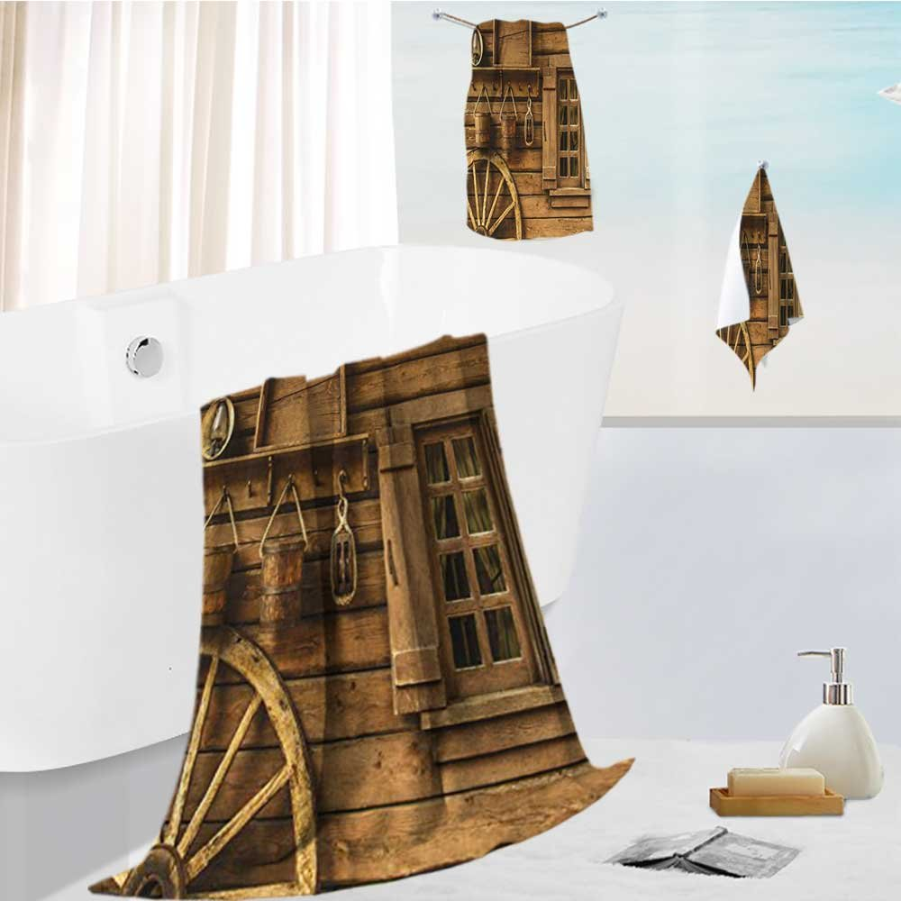 Miki Da fast dry bath towel set Western Wagon Wheel Window and Buckets Brown Lightweight High Absorbency 13.8''x13.8''-11.8''x27.6''-27.6''x55.2''