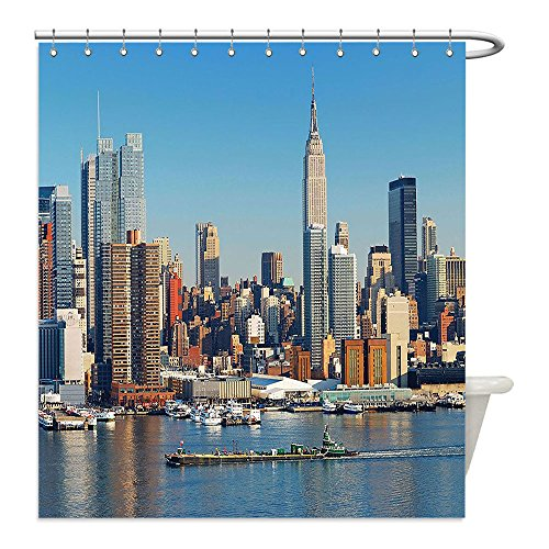 Liguo88 Custom Waterproof Bathroom Shower Curtain Polyester New York Urban City Skyline Manhattan with Empire State Building over Hudson River Panorama Blue Grey Decorative - Costume Kate Hudson