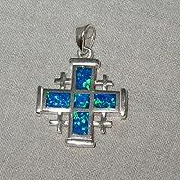 Jerusalem Cross Opal in 925 Silver Pendant 22mm