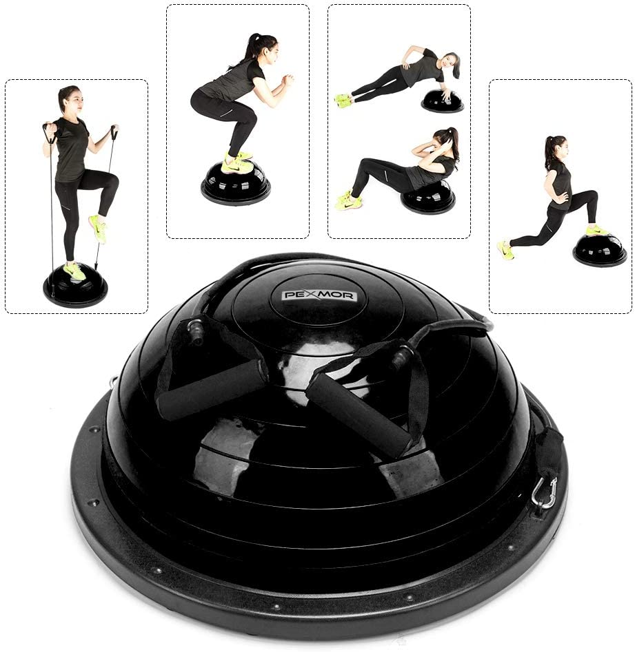Home Gym Balance Board for Yoga Fitness Ab Strength /& Stability Workout WEMARS Balance Ball Balance Trainer Half Exercise Ball with Resistance Bands /& Foot Pump