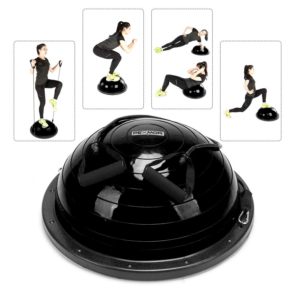 PEXMOR Yoga Half Ball Balance Trainer Exercise Ball Resistance Band Two Pump Home Gym Core Training (Standard Version - Black) by PEXMOR