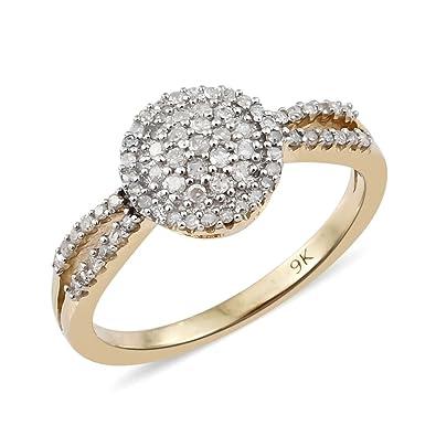 9K Yellow Gold Diamond Ring 0.330 Ct UT3ymfN