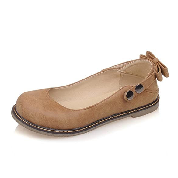 Butterfly Knot Straps Button Rivets Round Toe Lady Flats Shoes Woman