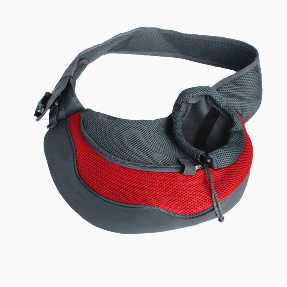 Pet Sling Carrier Bag Travel Tote Dog Cat Puppy Rabbit Shoulder Carry Handbag (Small Size, Red)
