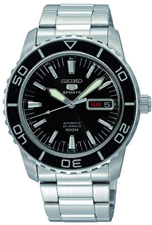 52ac4fb23 Image Unavailable. Image not available for. Color: Seiko 5 SNZH55 Automatic  Black Dial ...