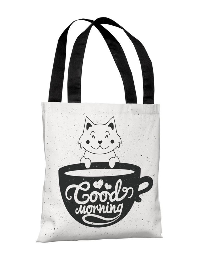 Good Morning Kitten Polyester Tote Bag44; Black /& Pink One Bella Casa 74626TT18P 18 in