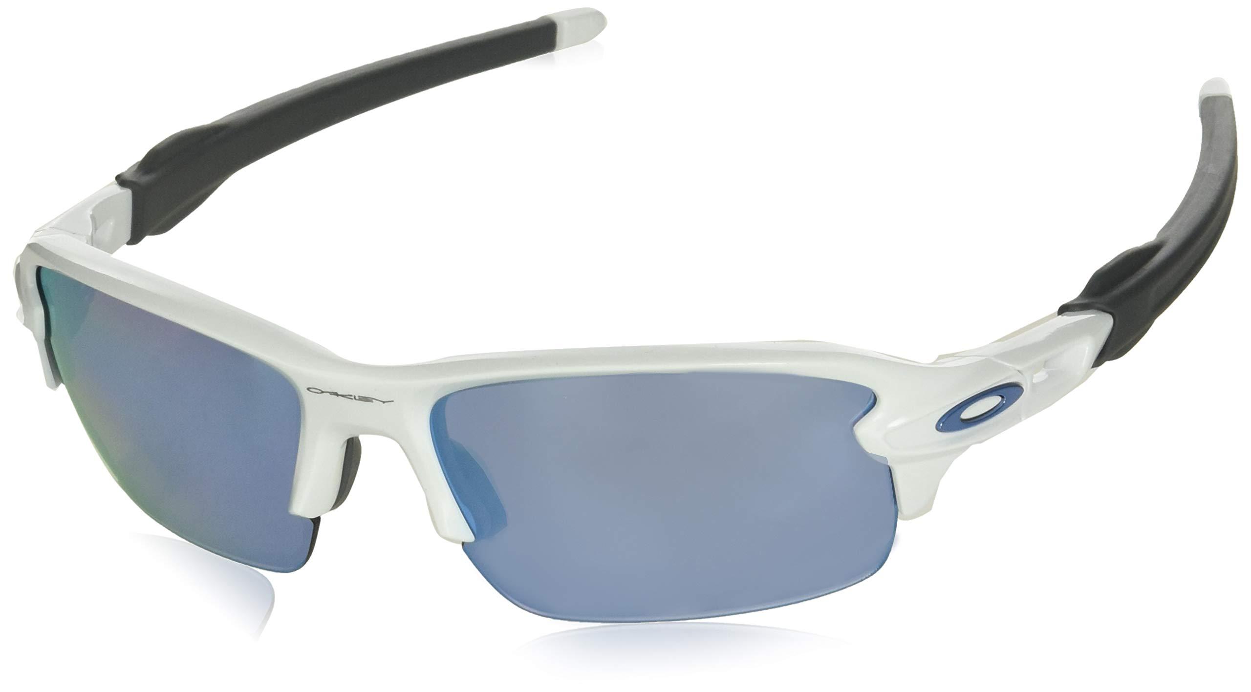 Oakley Youth Boys OJ9005 Flak XS Rectangular Sunglasses, Polished White/Prizm Deep H2O Polarized, 59 mm