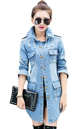 Wincolor Women's Button Down Distressed Ripped Long Denim Jacket ...