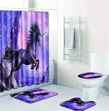 Emg Polyester Fibre Salle De Bain Rideau Salle De Bain Tapis De Toilette Siege Coussin 16 Piece Set Creative Licorne Serie