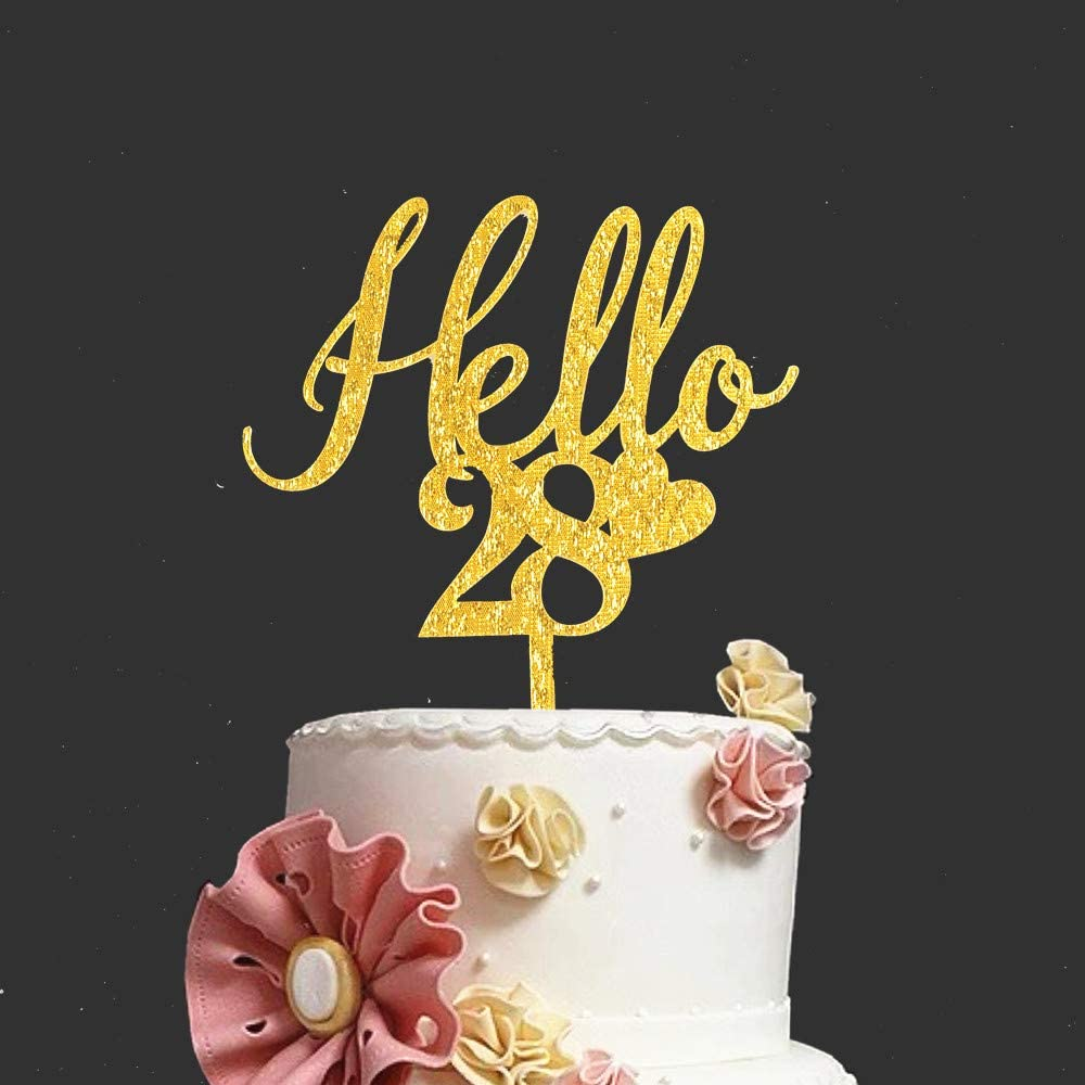 Enjoyable Gold Glitter Hello 28 Cake Topper Happy 28Th Birthday Twenty Birthday Cards Printable Inklcafe Filternl
