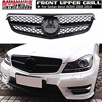 MOTORFANSCLUB Front Hood Bumper Grill Center Grille Cover ABS Gloss Black Mesh AMG Style Grille for Mercedes Benz W204 C-Class C180 C200 C250 C260 C300 C350 ...