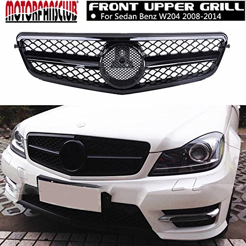 (MOTORFANSCLUB Front Hood Bumper Grill Center Grille Cover ABS Gloss Black Mesh AMG Style Grille for Mercedes Benz W204 C-Class C180 C200 C250 C260 C300 C350 2008-14 (Glossy Black) without emblem)
