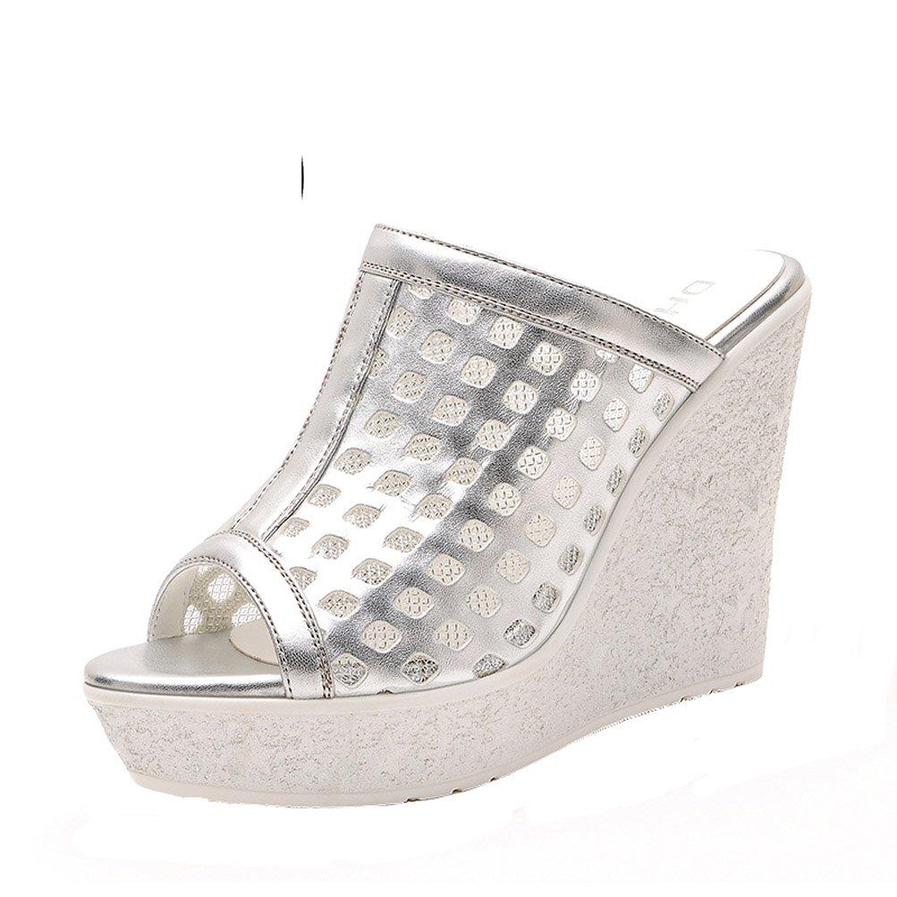 DunHu Women Fashion High Heel Wedge Outdoor Slipper Silver 8M US by DUNHU