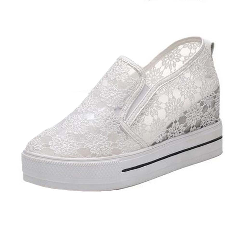 Angelliu Fashion Comfy Lace Mesh Height Increasing Shoes Platform Trainers Sandals White