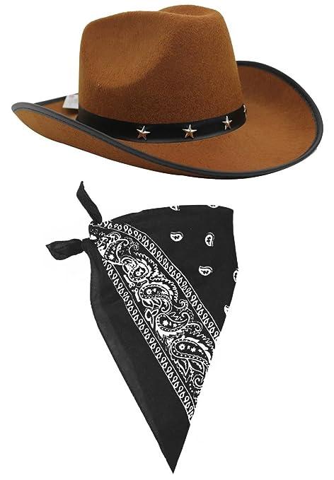 a70d0f45de724 ILOVEFANCYDRESS Juego de accesorios - Disfraz infantil de vaquero - sombrero  marrón de vaquero con franja