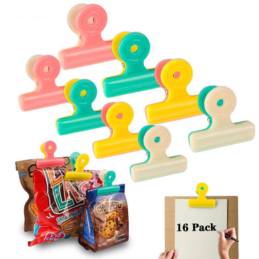 Chip Clips Bag Clips Food Clips,16 Pack Gloween Heavy-Duty Clips All-Purpose Air Tight Seal Grip Clips for Kitchen Home Office, Assorted Color, Large/Medium