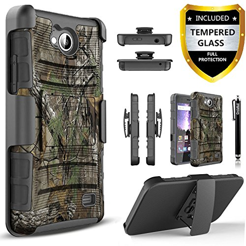 Alcatel Tetra 5041C Case, With [Tempered Glass Screen Protector Included], Circlemalls Built-In Kickstand Belt Clip…