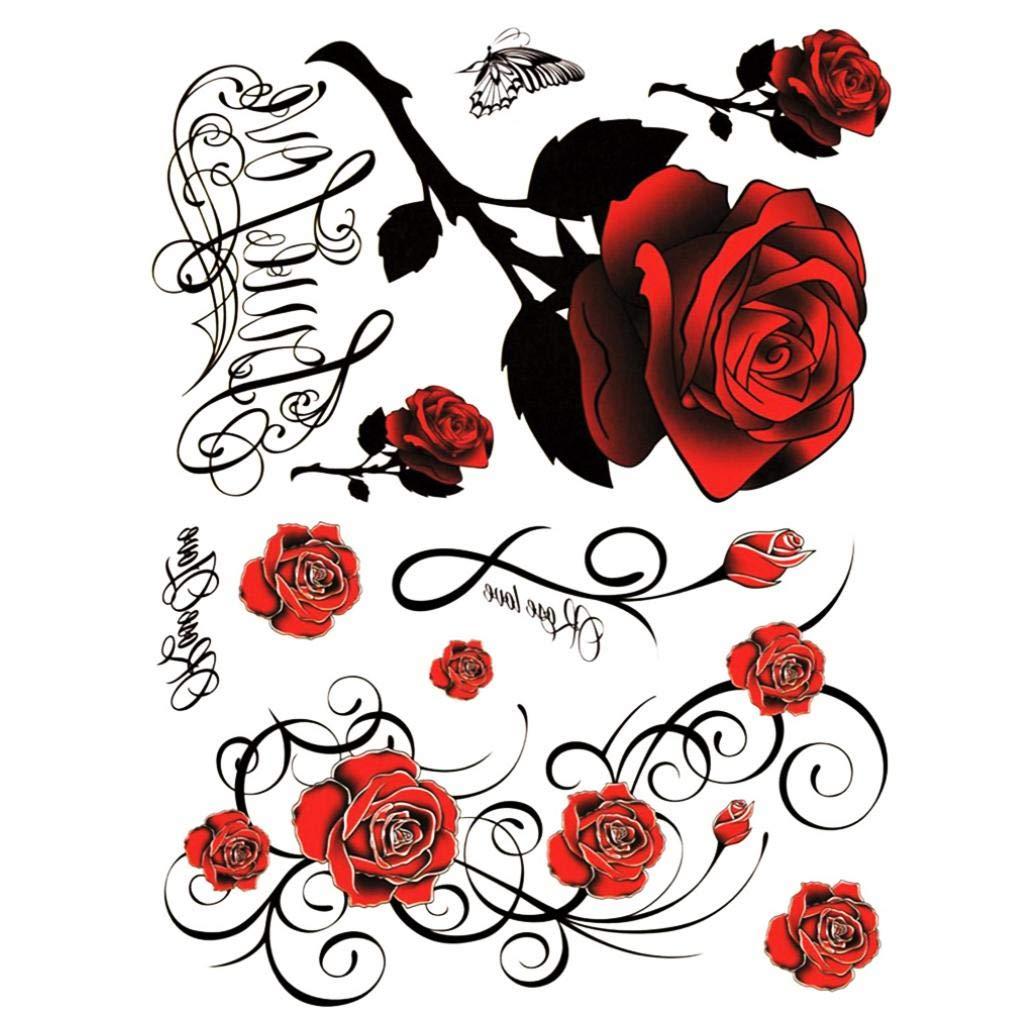 La Eliminación A Prueba De Agua Pegatinas Tatuaje Temporal Rose ...