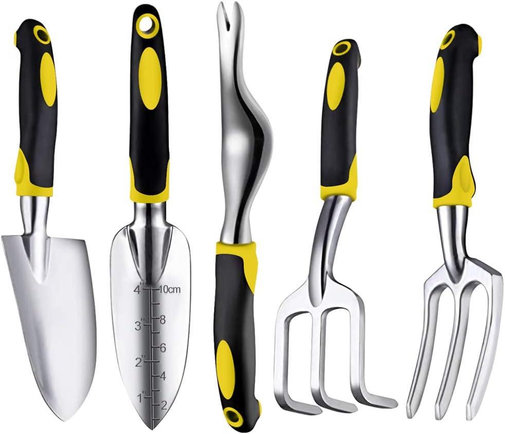LUCHUNYA Garden Tool Set, 5 Piece Heavy Duty Aluminum Garden kit, Non-Slip Rubber Grip Gardening Tools for Man, Women (Yellow)