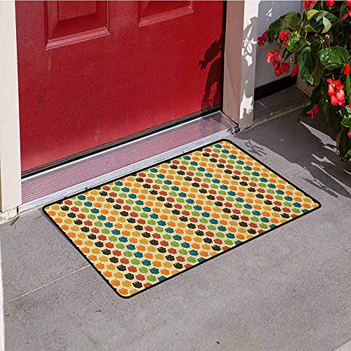 Gloria Johnson Owls Commercial Grade Entrance mat Retro Styled Colorful Animal Silhouettes with Grunge Display Halloween Inspirations for entrances garages patios W23.6 x L35.4 Inch Multicolor ()