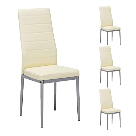 Remarkable Mecor Dining Chairs Set Of 4 Modern Dining Chairs High Back Pu Leather With Steel Frame Legs Kitchen Room Chairs Light Yellow Squirreltailoven Fun Painted Chair Ideas Images Squirreltailovenorg