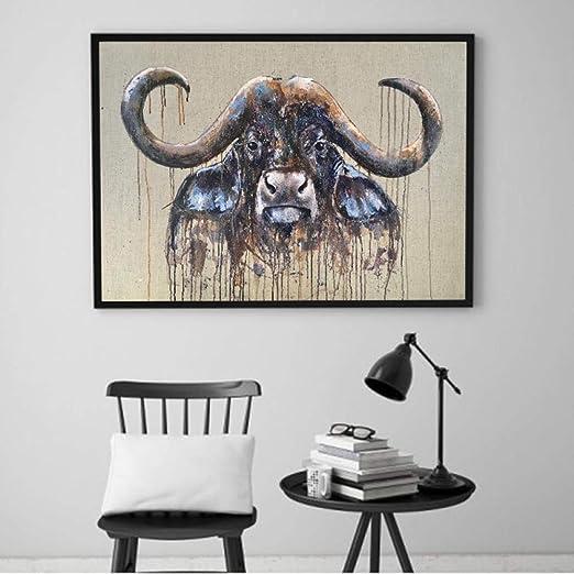N / A Cuadros de Pared de búfalo de Lienzo de Animales para ...