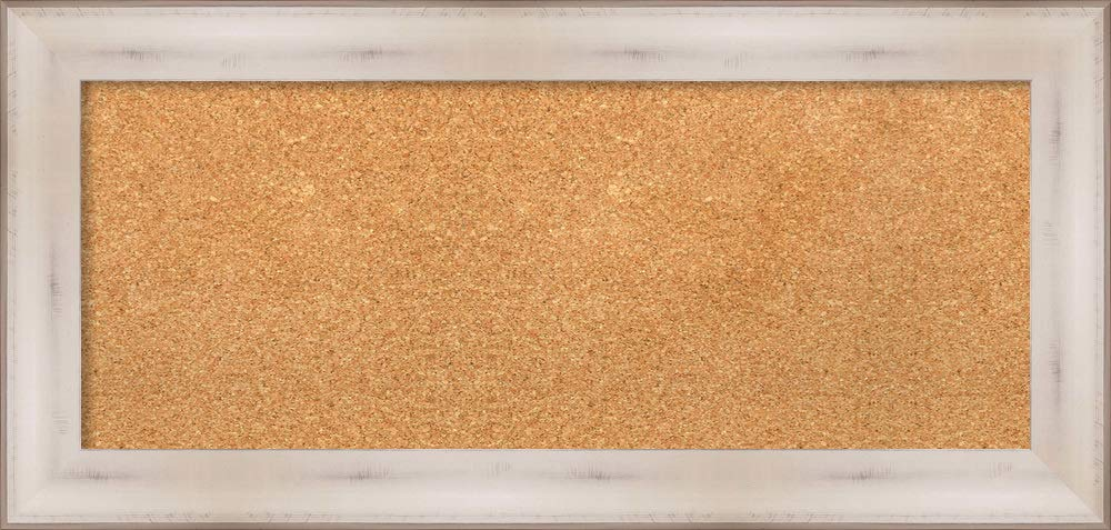 Amanti Art Natural Cork Allure White Framed Bulletin Boards, 35 x 17,