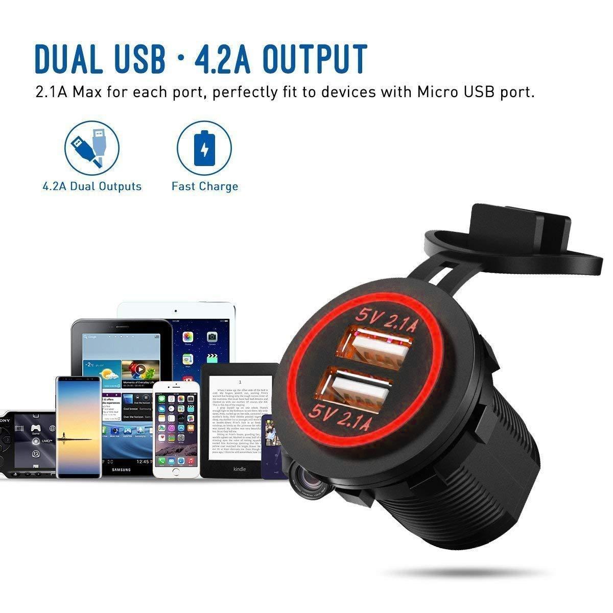 Mise /à Niveau Double Prise de Chargeur de Voiture USB 4.2A /étanche Power Prise de Courant Rouge LED Adaptateur de Chargeur de Voiture Rapide pour 12 V~24 V V/éhicules Moto SUV Camion Caravane Marine