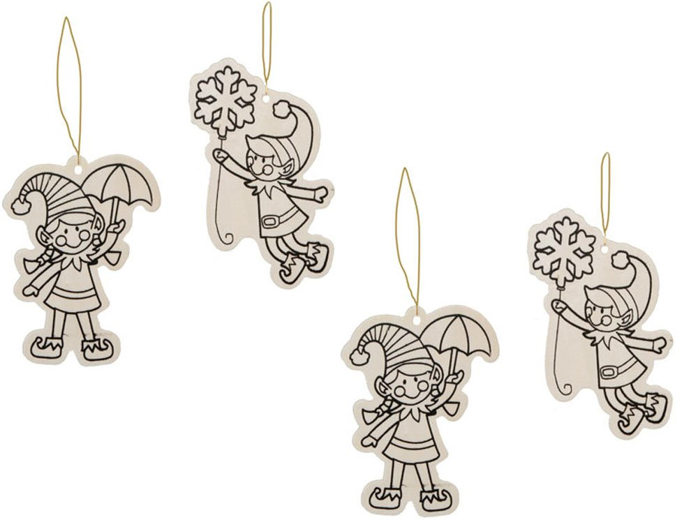 2 Elf with Snowflake 2 Elf with Umbrella Color Your Own Wood Christmas Ornaments Craft for Children Cute Elves Bundle of 4 Items