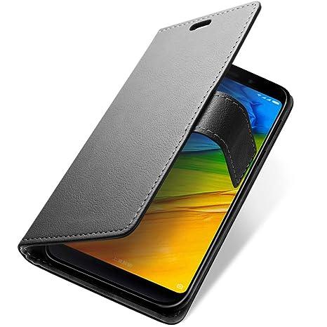 SLEO para Funda Xiaomi Redmi 5 Plus Carcasa Libro de Cuero Ultra Delgado Billetera Cartera [Ranuras de Tarjeta,Soporte Plegable,Cierre Magnético] Case ...