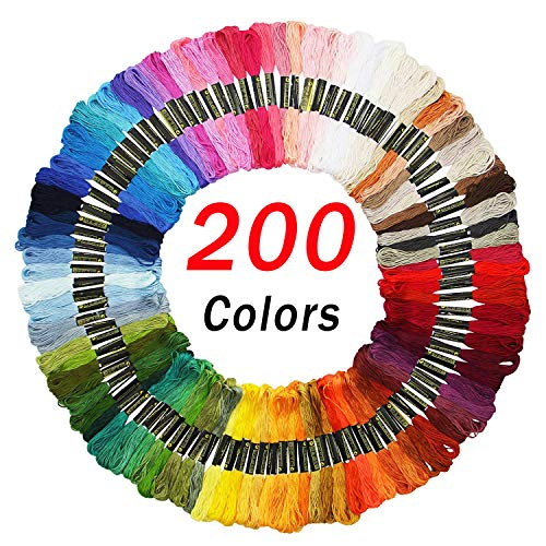 Embroidery Floss Friendship Bracelet String Cross Stitch Threads with DMC Color Numbers, 6 Strands 8.75 Yard (200 skeins)]()