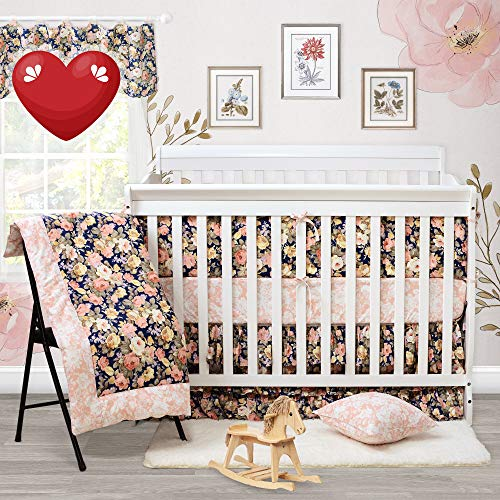 Brandream Crib Bedding Sets for Girls with Bumpers Baby Bedding Crib Sets Rose Floral Nursery Bedding Set,100% Cotton Soft, Navy and Pink, Shabby and Vintage Style, 9 Pieces (Sets Vintage Bedding Baby Crib)