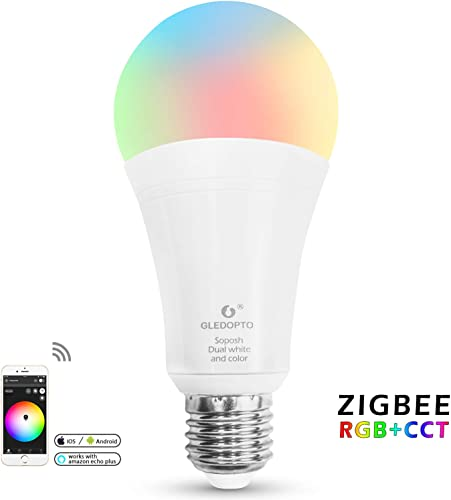 GLEDOPTO Smart ZigBee LED Bulb 12W E26 RGB CCT 2700 6500K White Light Dimmable Color Lights LED Lighting Compatible