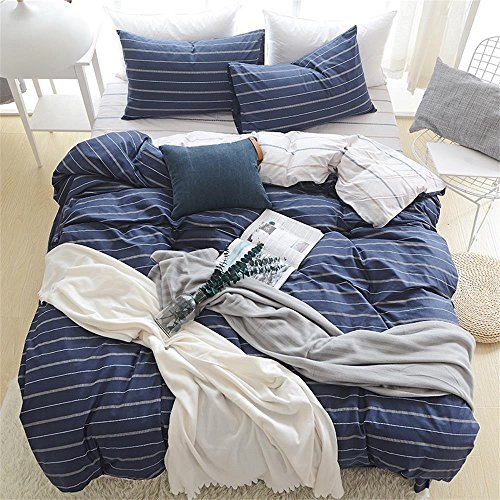 EnjoyBridal Soft Cotton Teens Bedding Cover Twin Stripes Blue Duvet Cover Set Boys with Zipper Closure Breathable Striped Quilt Comforter Cover Zipper Closure 3 Pieces Collection (Twin, Dark Blue) (Plaid Twin Comforter Set Bear)