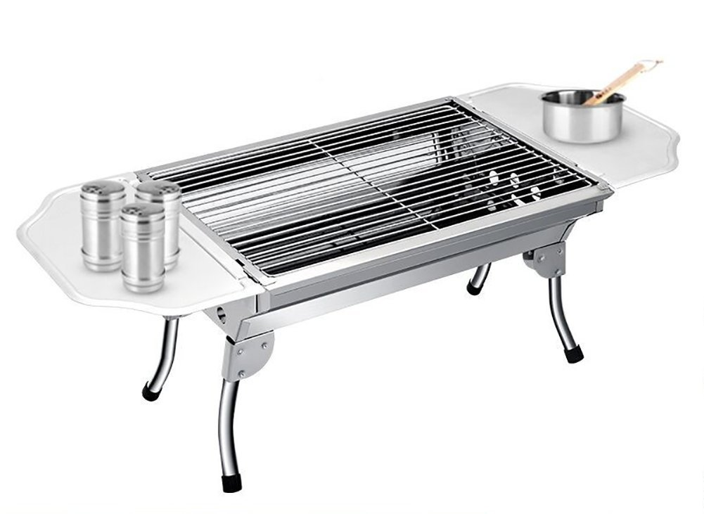Barbecue Grill Portable Faltbare Edelstahl Gerade Gegrillt Netzwerk Langlebig BBQ Regale (Camping / Haushalt / Silber)