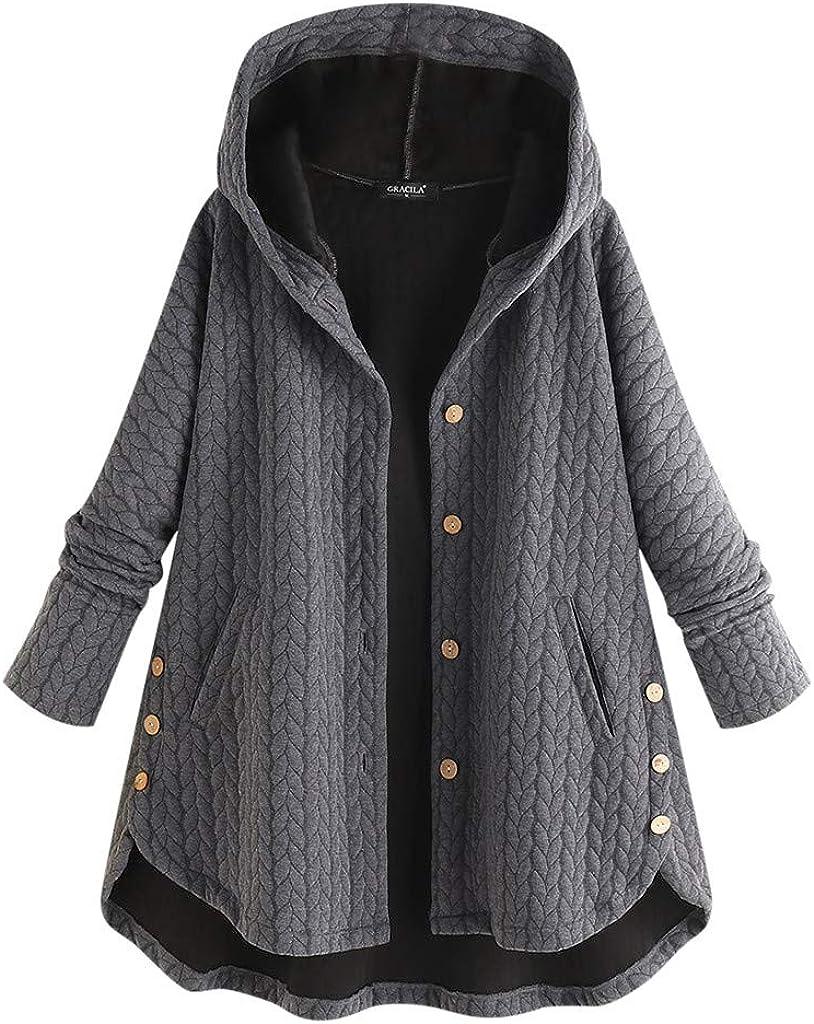 Womens Winter Coat Irregular Hem with Pocket Toamen Ladies Long Sleeve Faux Wool Warm Button up Hooded Jacket Outerwear Overcoat