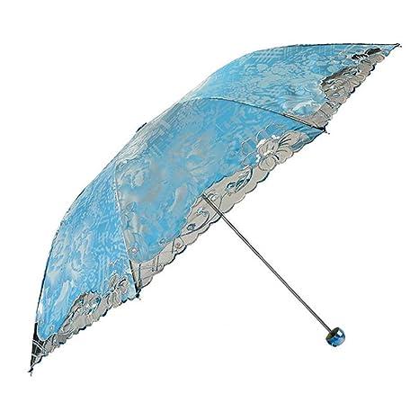Compacto De Sombrillas,Paraguas Plegable 3,Portátil Cordón Flash Vinilo Mujer Protección Uv Paraguas