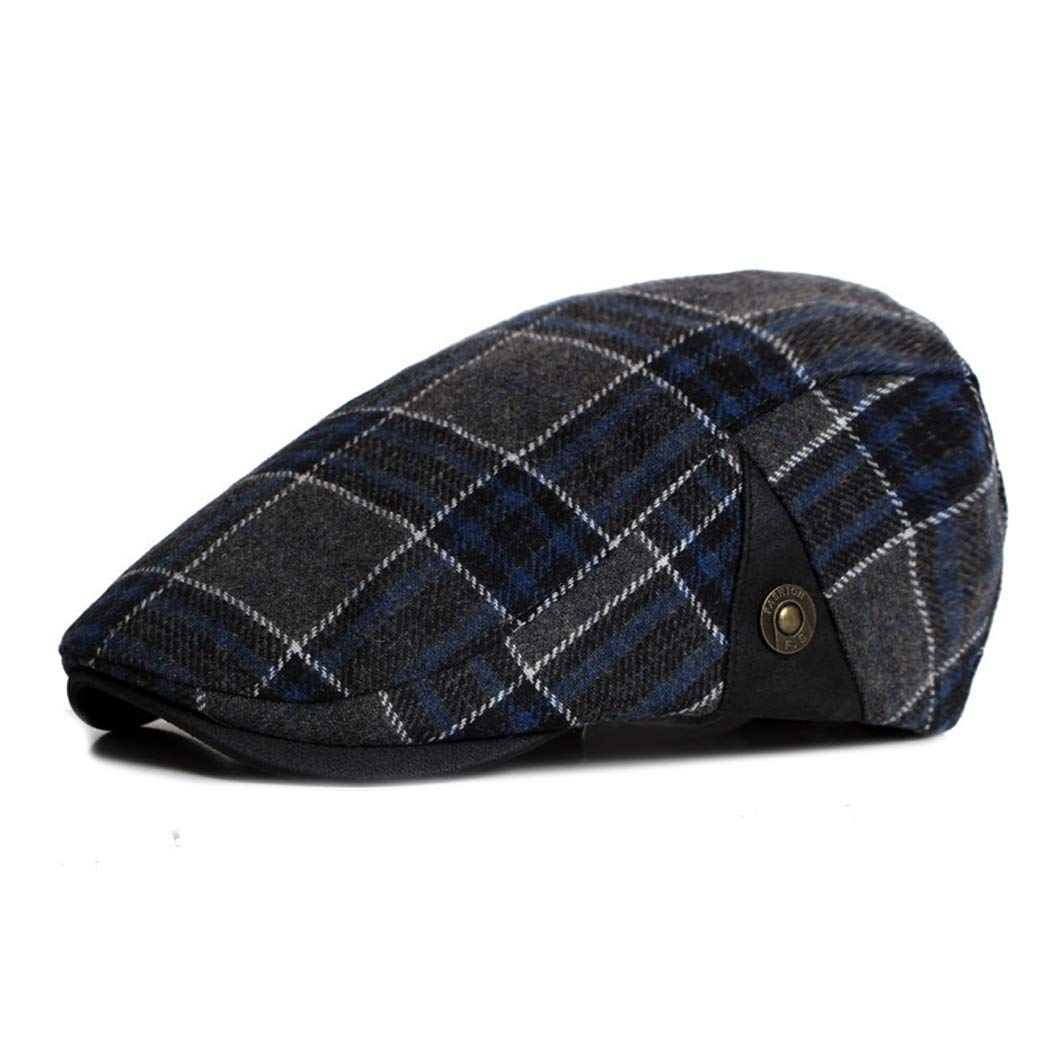 Anshili Men's Plaid Hat Wool Blend Ivy Cap Warm Beret (B) ShiAn